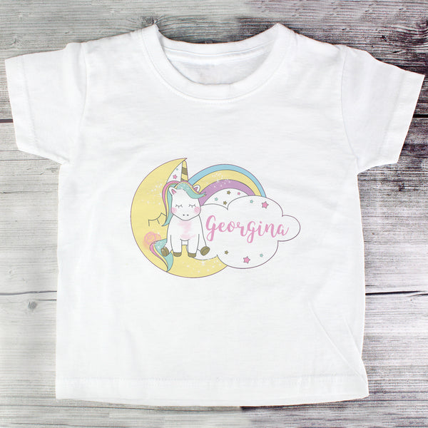 Personalised Baby Unicorn T shirt 1-2 Years with personalised name