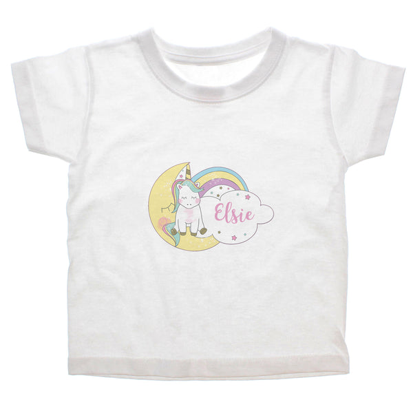 Personalised Baby Unicorn T shirt 3-4 Years white background
