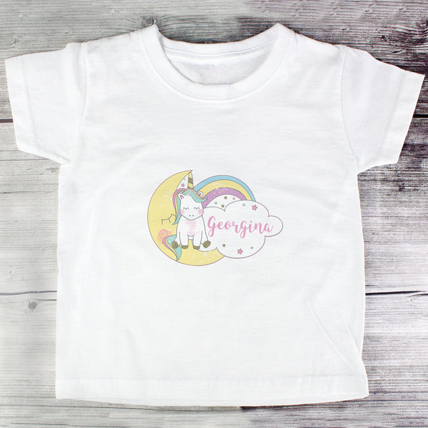 Personalised Baby Unicorn T shirt 3-4 Years with personalised name