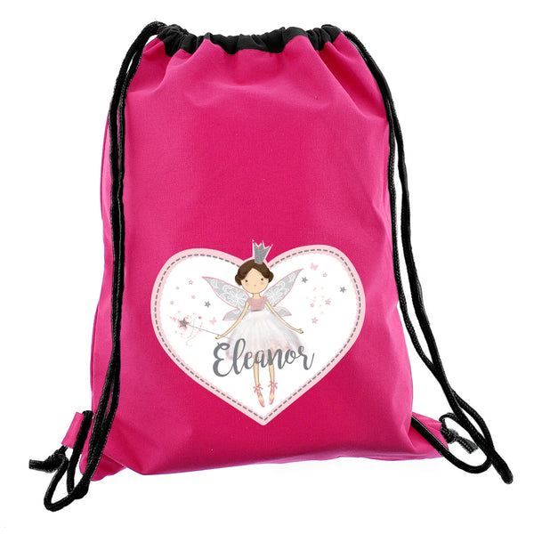 Personalised Fairy Princess Swim & Kit Bag white background