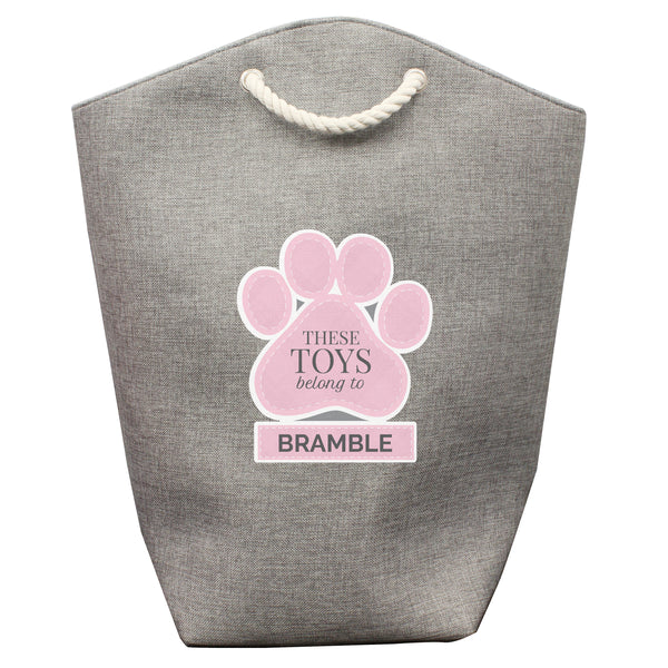 Personalised Pink Paw Print Storage Bag white background