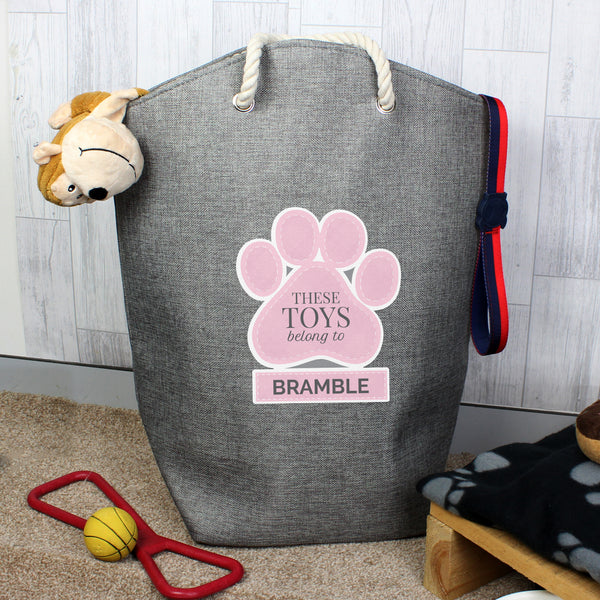 Personalised Pink Paw Print Storage Bag from Sassy Bloom Gifts - alternative view