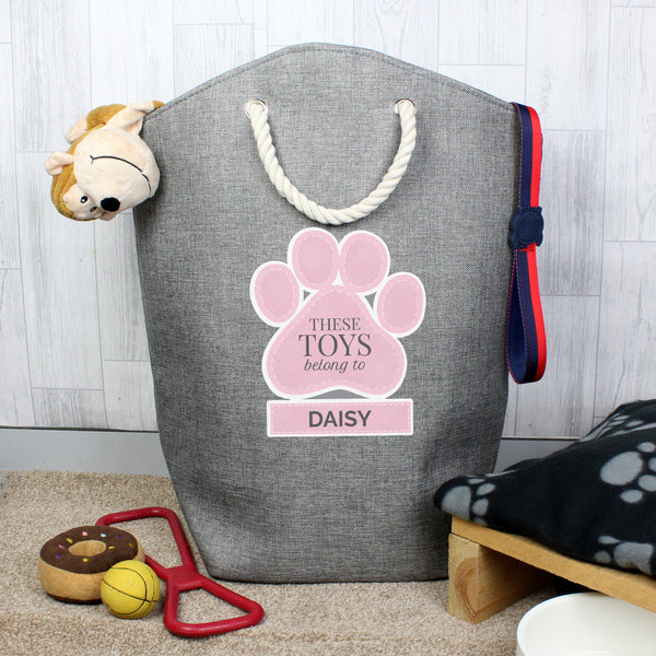 Personalised Pink Paw Print Storage Bag lifestyle image
