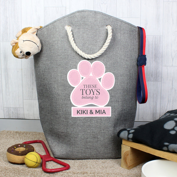Personalised Pink Paw Print Storage Bag with personalised name