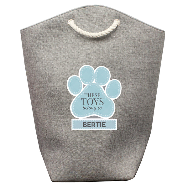 Personalised Blue Paw Print Storage Bag white background