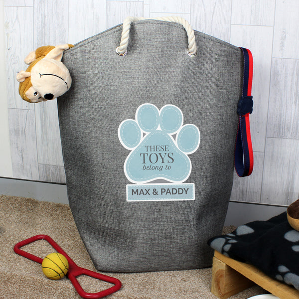Personalised Blue Paw Print Storage Bag from Sassy Bloom Gifts - alternative view