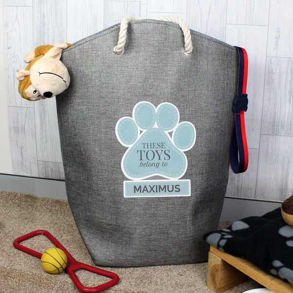 Personalised Blue Paw Print Storage Bag lifestyle image