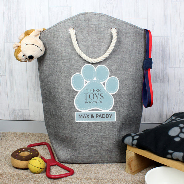Personalised Blue Paw Print Storage Bag with personalised name