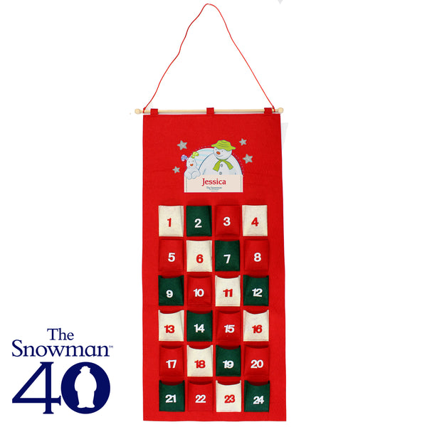 Personalised The Snowman and the Snowdog Felt Advent Calendar white background