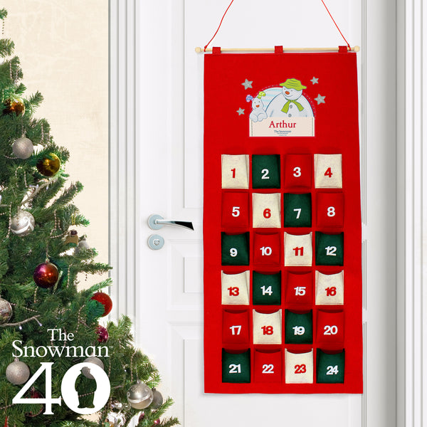 Personalised The Snowman and the Snowdog Felt Advent Calendar with personalised name