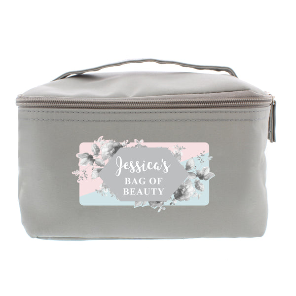Personalised Floral Grey Make Up Wash Bag white background