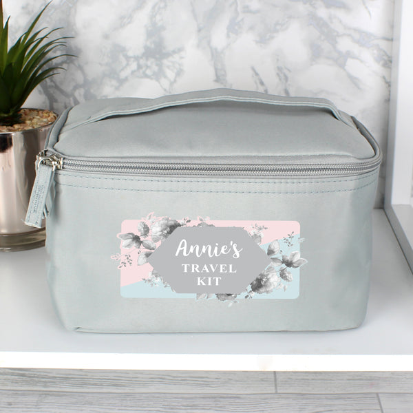 Personalised Floral Grey Make Up Wash Bag lifestyle image