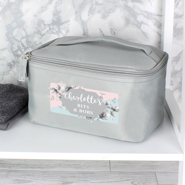Personalised Floral Grey Make Up Wash Bag with personalised name