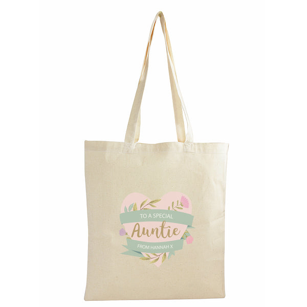 Personalised Floral Mother's Day Cotton Bag white background