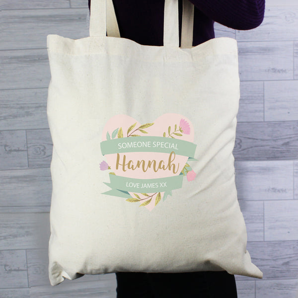 Personalised Floral Mother's Day Cotton Bag lifestyle image