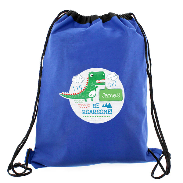 Personalised 'Be Roarsome' Dinosaur Swim & Kit Bag white background