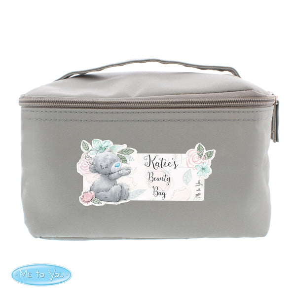Personalised Me to You Floral Grey Make Up Wash Bag white background