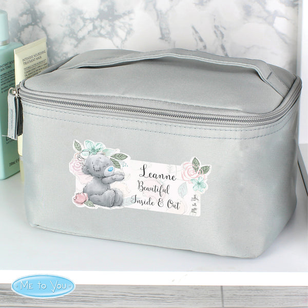 Personalised Me to You Floral Grey Make Up Wash Bag lifestyle image