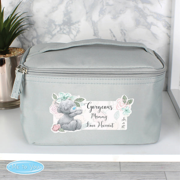 Personalised Me to You Floral Grey Make Up Wash Bag with personalised name