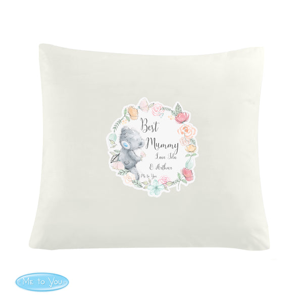 Personalised Me to You Floral Cream Cushion Cover white background