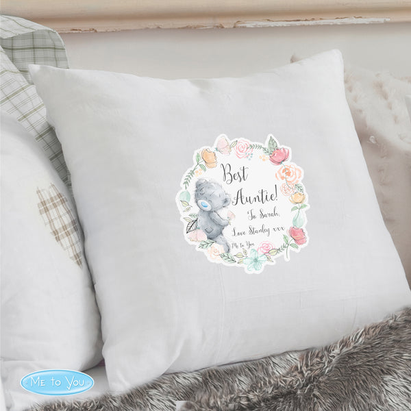 Personalised Me to You Floral Cream Cushion Cover lifestyle image