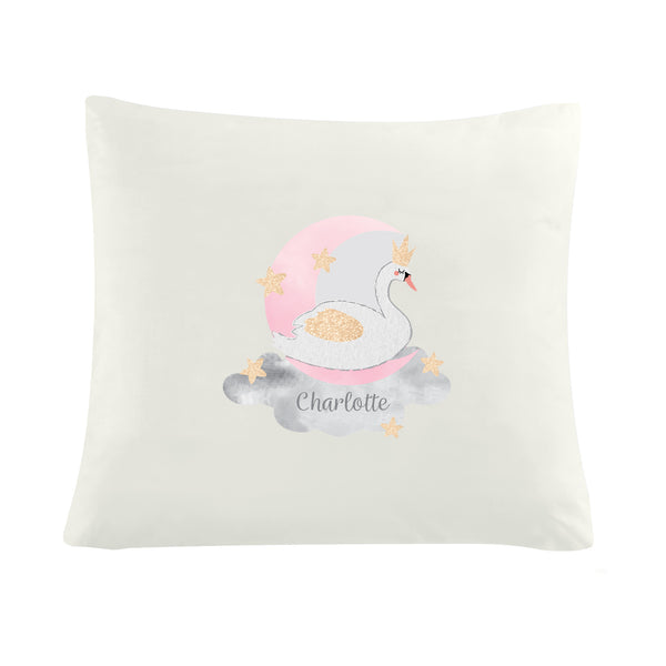 Personalised Swan Lake Cushion Cover white background