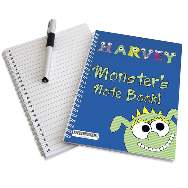 Personalised Little Monster A5 Notebook white background