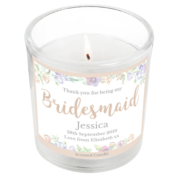 Personalised Bridesmaid 'Floral Watercolour Wedding' Scented Jar Candle white background