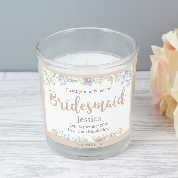 Personalised Bridesmaid 'Floral Watercolour Wedding' Scented Jar Candle from Sassy Bloom Gifts - alternative view