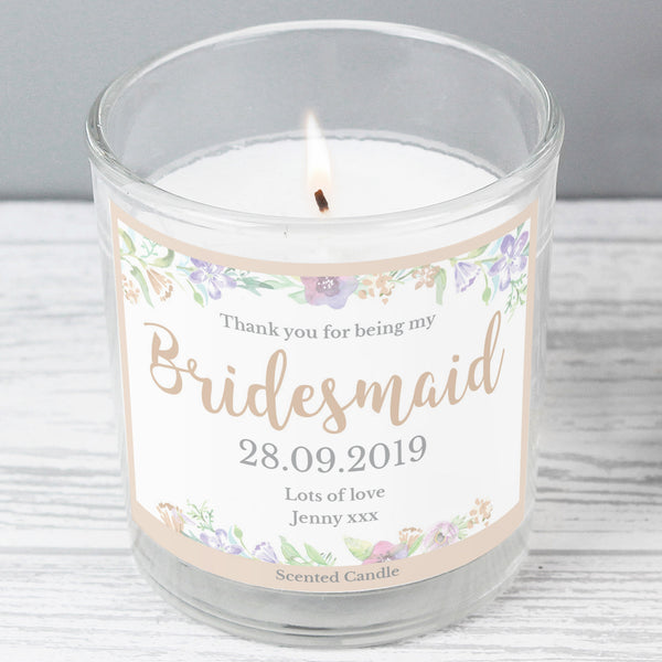 Personalised Bridesmaid 'Floral Watercolour Wedding' Scented Jar Candle