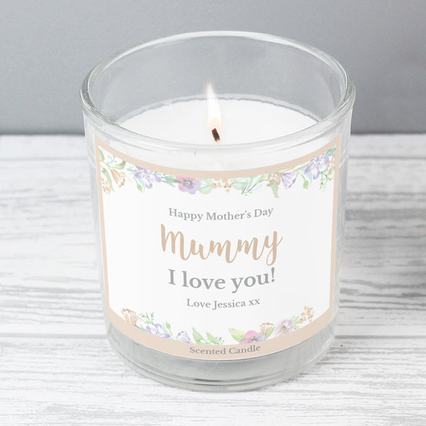 Personalised Floral Watercolour Scented Jar Candle from Sassy Bloom Gifts - alternative view
