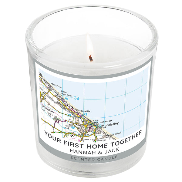 Personalised Present Day Map Compass Scented Jar Candle white background