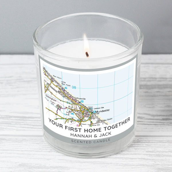 Personalised Present Day Map Compass Scented Jar Candle from Sassy Bloom Gifts - alternative view