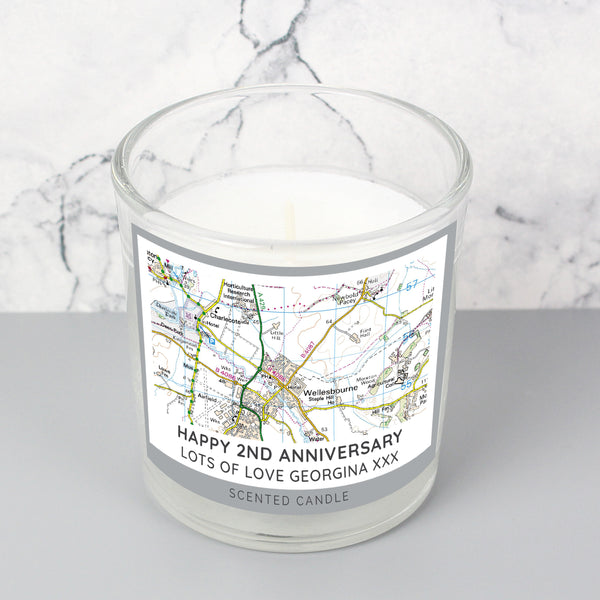 Personalised Present Day Map Compass Scented Jar Candle lifestyle image