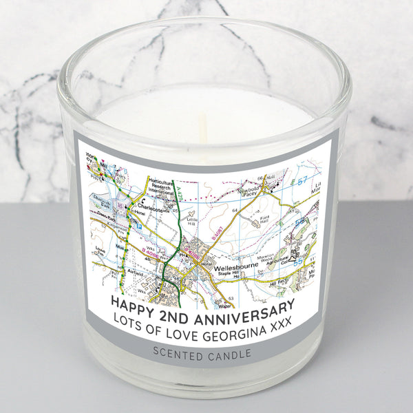 Personalised Present Day Map Compass Scented Jar Candle with personalised name