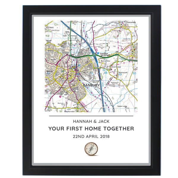 Personalised Present Day Map Compass Black Framed Poster Print white background