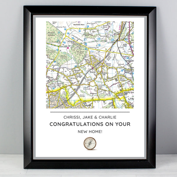 Personalised Present Day Map Compass Black Framed Poster Print from Sassy Bloom Gifts - alternative view