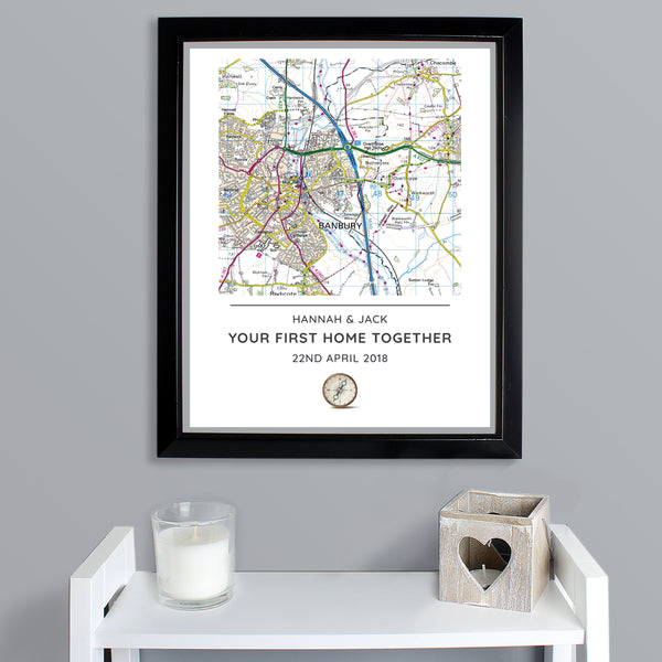 Personalised Present Day Map Compass Black Framed Poster Print lifestyle image