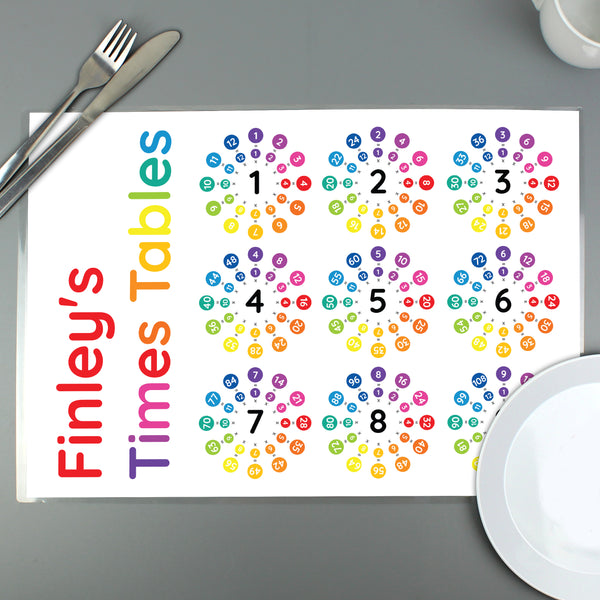 Personalised Times Tables Placemat from Sassy Bloom Gifts - alternative view