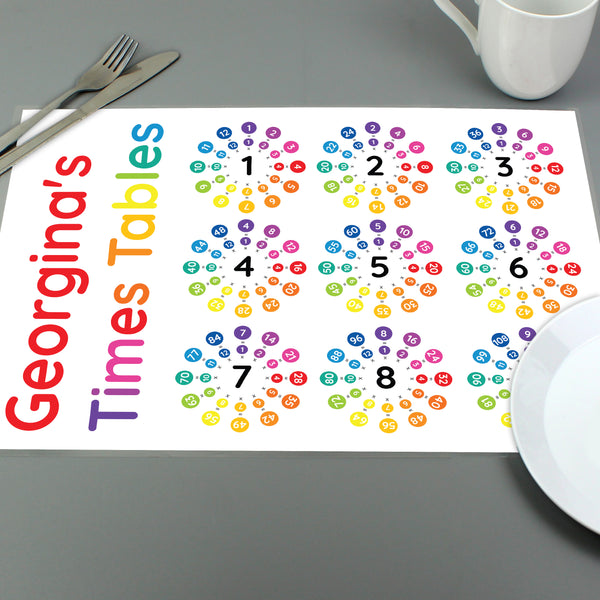 Personalised Times Tables Placemat lifestyle image