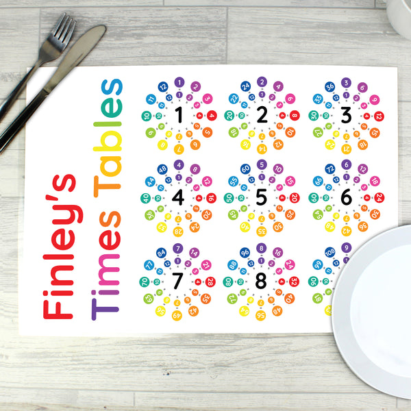 Personalised Times Tables Placemat with personalised name