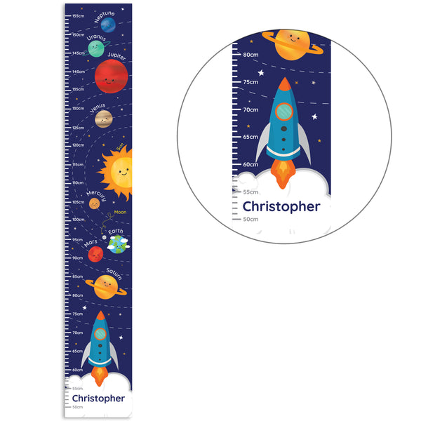 Personalised Solar System Height Chart white background