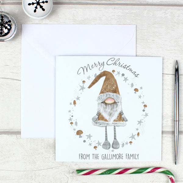 Personalised Scandinavian Christmas Gnome Pack of 20 Cards with personalised name