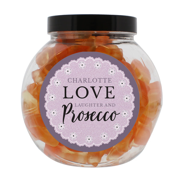 Personalised Lilac Lace Prosecco Gummies Jar white background