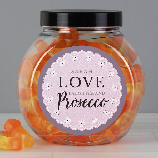 Personalised Lilac Lace Prosecco Gummies Jar from Sassy Bloom Gifts - alternative view
