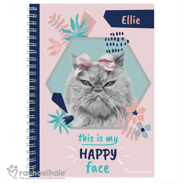 Personalised Rachael Hale 'Happy Face' Cat A5 Notebook white background