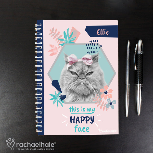 Personalised Rachael Hale 'Happy Face' Cat A5 Notebook from Sassy Bloom Gifts - alternative view