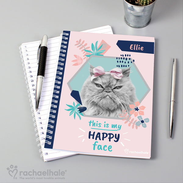 Personalised Rachael Hale 'Happy Face' Cat A5 Notebook lifestyle image