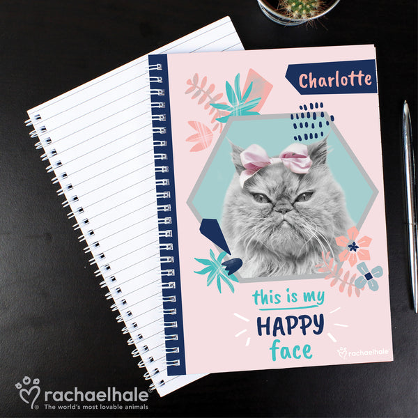 Personalised Rachael Hale 'Happy Face' Cat A5 Notebook with personalised name