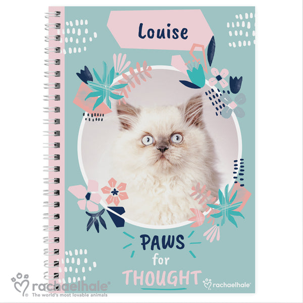 Personalised Rachael Hale 'Paws for Thought' Cat A5 Notebook white background